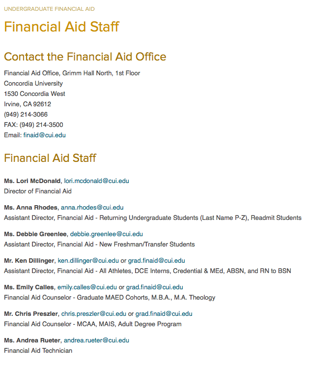 Concordia University Irvine financial aid office